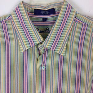 Alan Flusser Button Down Front Shirt Striped